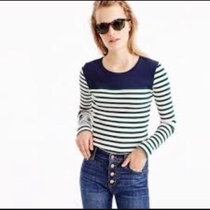 J.Crew Placed-Stripe Ribbed Long Sleeve Sweater